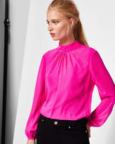 Ted Baker Ruched high neck silk blouse