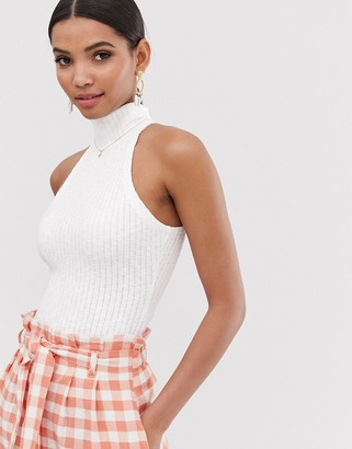 Fashion Union ribbed sleeveless roll neck top-White