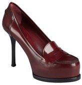 Saint Laurent burgundy leather platform penny loafer pumps