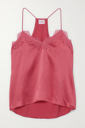 CAMI NYC The Racer Lace-trimmed Silk-charmeuse Camisole - Pink