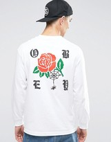 Obey Long Sleeve T-shirt With Rose Back Print