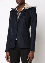 Veronica Beard Navy Classic Jacket With Blue Waffle Knit Hood Dickey