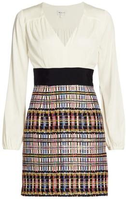 Milly Nicola Plunging Sparkle Tweed Dress