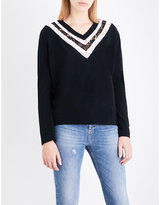 The Kooples Floral-lace wool and cashmere blend jumper