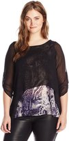 Yours Clothing YoursClothing Women's Plus-Size Animal Print Georgette Layered Top