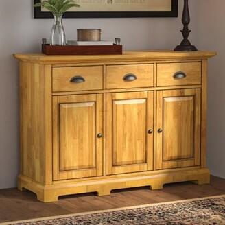 """Three Posts Fortville 52"""" Wide 3 Drawer Rubberwood Wood Sideboard Color (Base/Top): Oak"""
