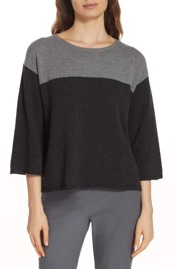 Eileen Fisher Boxy Cashmere & Wool Sweater