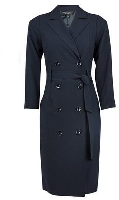 Dorothy Perkins Womens Navy 3/4 Sleeve Trench Dress, Navy