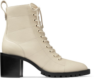 Jimmy Choo CRUZ 65 Linen Grainy Leather Lace-Up Combat Boots