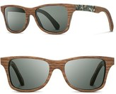 Shwood Women's 'Canby' 55Mm Polarized Wood & Seashell Inlay Sunglasses - Walnut/ Seashell/ G15 Polar