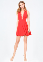 Bebe Scallop Lace Trim Dress