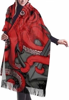 Zharkli Women Winter Cashmere Scarf Pashmina Shawl Wrap with Tassel Octopus and Anchor Artwork
