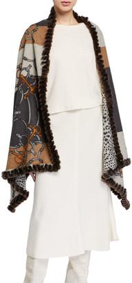 Kelli Kouri Cashmere Chain Print Wrap w/ Rabbit Fur Trim