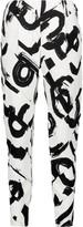 Proenza Schouler Paneled printed crepe straight-leg pants