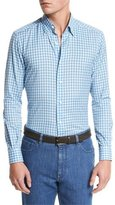 Ermenegildo Zegna Small-Plaid Cotton-Linen Sport Shirt, Bright Blue