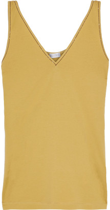 Brunello Cucinelli Bead-embellished Cotton-jersey Tank