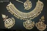 Bamboo Indian Gold Tone Bridal Necklace Mang Tika Earring Traditional Wedding Jewelry Set