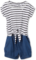 DKNY Dark Wash & White Stripe Romper - Girls