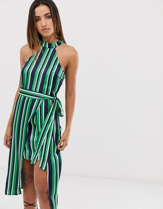 AX Paris navy white and green high neck overlayer dress