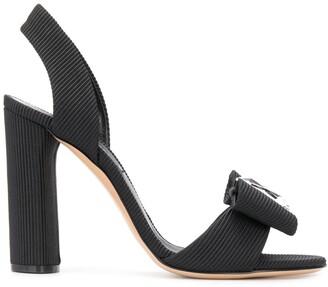 Casadei Crystal-Bow Faille Sandals