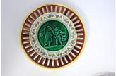 One Kings Lane Vintage Antique Wedgwood Majolica Cherub Plate - Rose Victoria - blue/green/brown/yellow