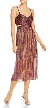 Aidan Mattox Metallic Pleated Dress