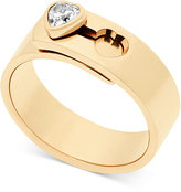 Michael Kors Crystal Heart Faux Clasp Statement Ring