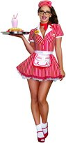 Dreamgirl Women's Sexy 50's 60's Retro Striped Burger Waitress Costume, Diner Doll
