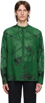 Haider Ackermann Green Embroidered Oversized Shirt