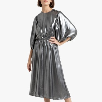 La Redoute Collections Metallic Midi Dress with Puff Sleeves