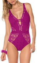 Becca by Rebecca Virtue Womens Crochet Solid One-Piece Swimsuit Purple L