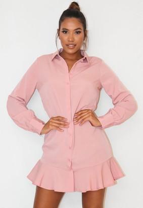Missguided Blush Frill Hem Shirt Dress