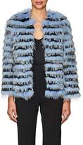 Barneys New York Women's Striped Rabbit & Fox Fur Jacket