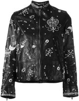 Valentino printed biker jacket - women - Silk/Cotton/Lamb Skin - 40