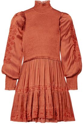 Ulla Johnson Angelica Shirred Embroidered Satin Mini Dress