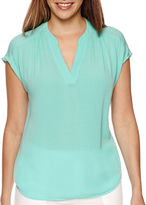 Liz Claiborne Sleeveless Split-Neck Blouse
