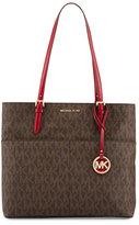 MICHAEL Michael Kors Bedford Large Logo Pocket Tote Bag, Brown/Cherry