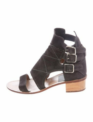 Laurence Dacade Suede Cutout Accent Gladiator Sandals Grey