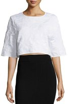 Zac Posen Tracy Half-Sleeve Crop Top, White