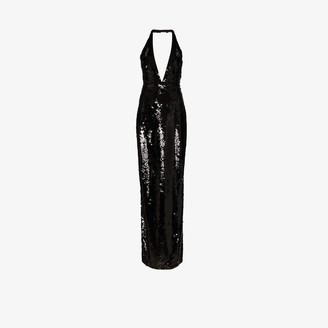 Tom Ford halterneck low V-neck sequin gown