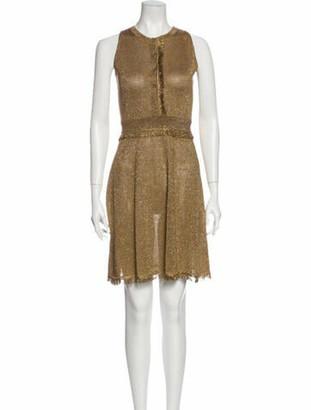Versace Crew Neck Mini Dress w/ Tags Gold