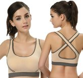 Pooqdo Women Padded Bra Top Vest For Fitness Sports Yoga (L, )