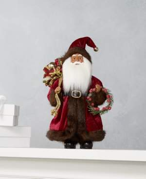 "Holiday Lane 12""H Standing African American Santa with Gift Bag and Wreath, Created for Macy's"
