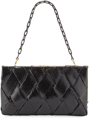 Nancy Gonzalez Large Woven Snakeskin Frame Clutch Bag