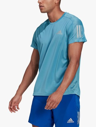 adidas Own The Run Short Sleeve Running Top, Hazy Blue