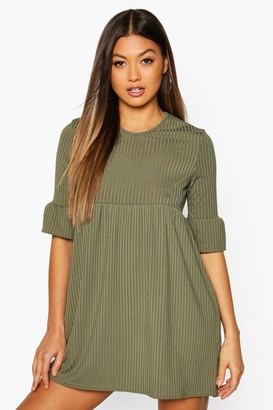 boohoo Rib Frill Sleeve Smock Dress