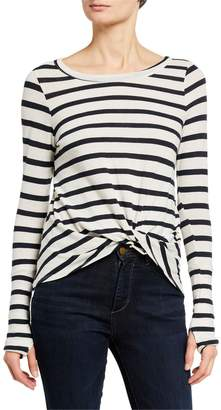 Chaser Stripe Thumbhole Twist Front Tee