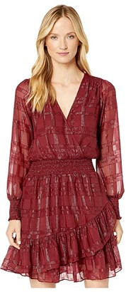 MICHAEL Michael Kors Shiny Plaid Ruffle Dress (Dark Brandy) Women's Clothing