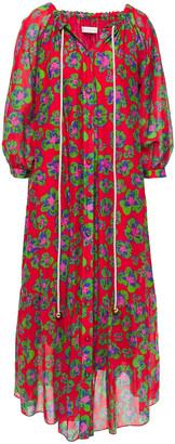 Borgo de Nor Natalia Gathered Floral-print Cotton And Silk-blend Midi Dress