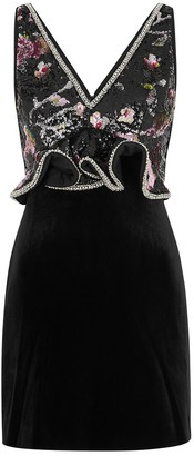 Self-Portrait Black Sequin-embellished Velvet Mini Dress
